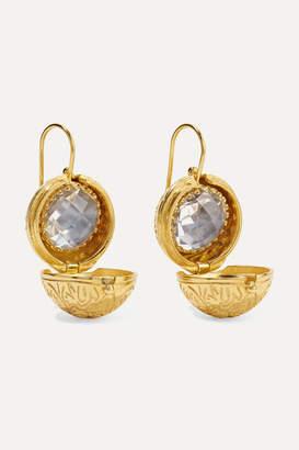 Larkspur & Hawk Olivia Button Small Gold-dipped Quartz Earrings