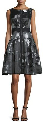 Carmen Marc Valvo Sleeveless Floral Zip-Front Fit-and-Flare Dress, Multicolor $680 thestylecure.com
