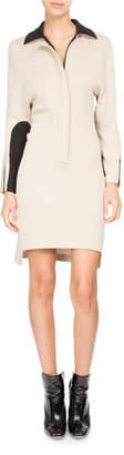 Atlein Bicolor Zip-Front Polo Dress