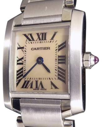 Cartier Tank Francaise Stainless Steel Silver Mother of Pearl Dial Quartz 26mm Womens Watch