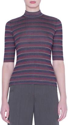 Akris 1/2-Sleeve Checked Silk-Knit Sweater