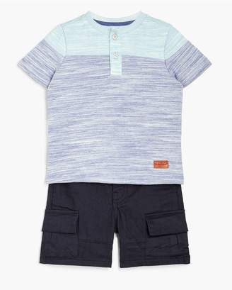 7 For All Mankind Kids Boys 12M-24M Crew Neck Tee Cargo In Heather Blue