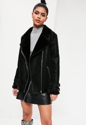 Black Oversized Faux Fur Lined Aviator Jacket $117 thestylecure.com