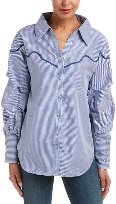 Tea & Cup Ruched Sleeve Shirt