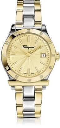 Salvatore Ferragamo 1898 Stainless Steel and Gold IP Women's Bracelet Watch w/Diamonds
