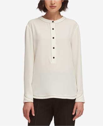 DKNY Half-Button Layered-Cuff Blouse, Created for Macy's