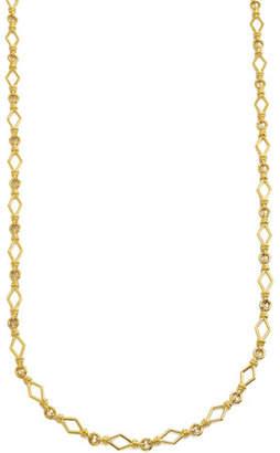 "David Webb 18k Gold Round & Diamond-Shape Chain-Link Necklace, 16""L"