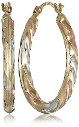 14k Gold Tri-Color Oval Hoop Earrings
