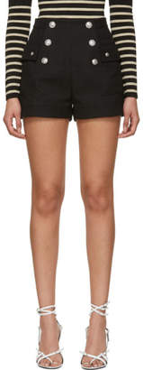Balmain Black High-Waisted Double-Breasted Shorts