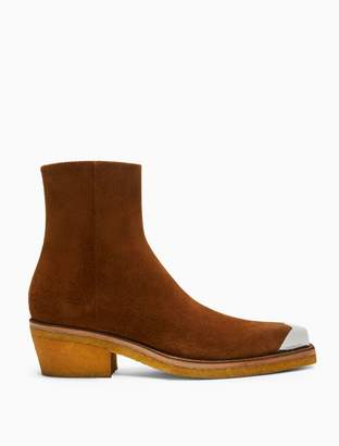 Calvin Klein ankle boot in suede with silver toe cap