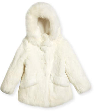 Adrienne Landau Fur Hooded Coat, Size 2T-12Y