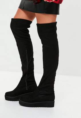 Missguided Black Cleated Sole Platform Boots