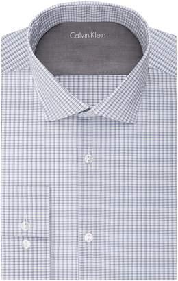 Calvin Klein Men's Stretch Xtreme Slim Fit Check Spread Collar Dress Shirt