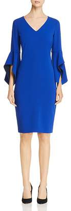 Badgley Mischka Contrast Bell Sleeve Dress