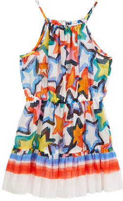 Milly Minis Stars-Print Tiered Halter Dress, Size 4-7