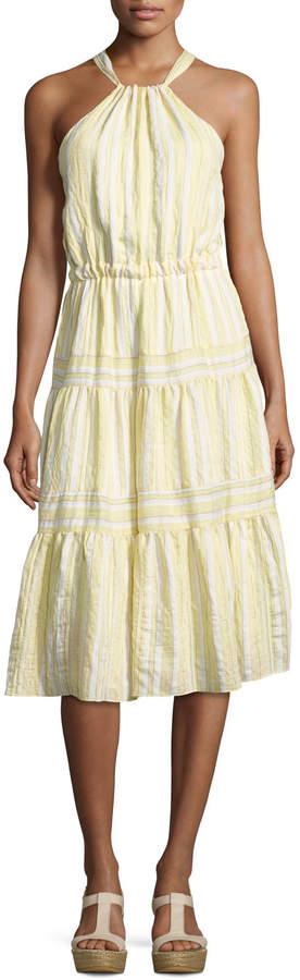 Rebecca Taylor Sleeveless Halter Crinkled Midi Dress, Yellow White Multi