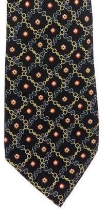 Prada Chain-Link Print Silk Tie