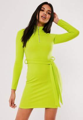 Missguided Neon Lime Belted Zip Bandage Mini Dress, Lime