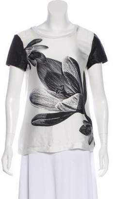 Yigal Azrouel Cut25 by Leather-Trim Printed Short Sleeve Top