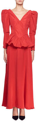 Stella McCartney Nathaly Long-Sleeve V-Neck Peplum-Waist Evening Gown