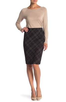 Amanda & Chelsea Plaid Ponte Pencil Skirt (Petite)