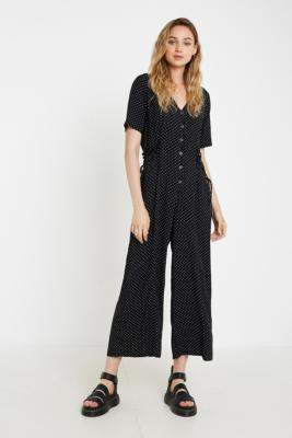 Urban Renewal Vintage Inspired By Vintage Mia Spot Playsuit - black XS at Urban Outfitters