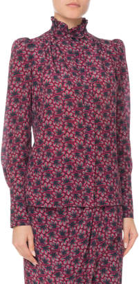 Isabel Marant Turtleneck Long-Sleeve Floral-Print Silk Blouse