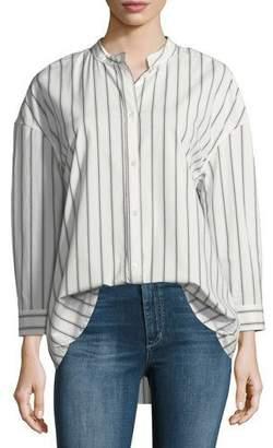 Joie Poni Button-Front Striped Poplin Shirt