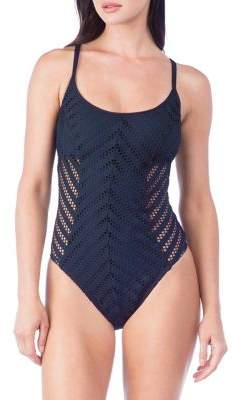 Kenneth Cole Reaction Tough Luxe One-Piece Crochet Swimsuit