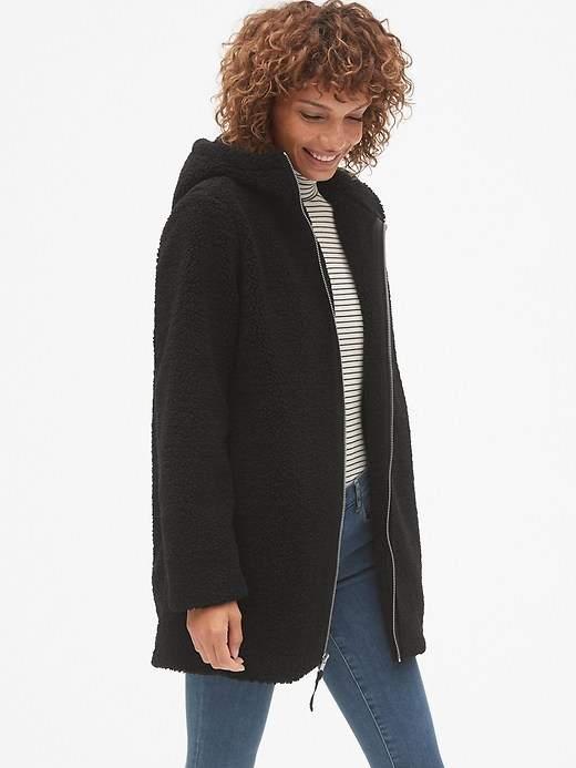 Hooded Zip-Front Teddy Coat