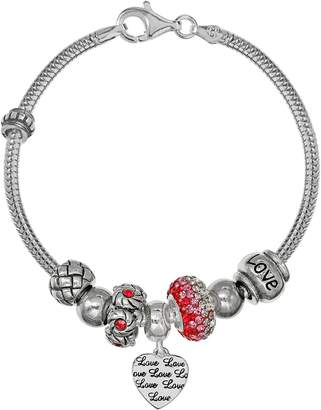 """Individuality Beads Sterling Silver Snake Chain Bracelet, """"Love"""" Heart Charm & Bead Set"""