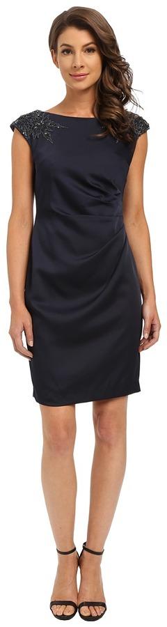 Adrianna PapellAdrianna Papell Cap Sleeve Satin Back Crepe Cocktail Dress