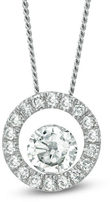 """Zales 1/4 CT. T.W. Certified Canadian Diamond Circle Pendant in 14K White Gold (I/I2) - 17"""""""