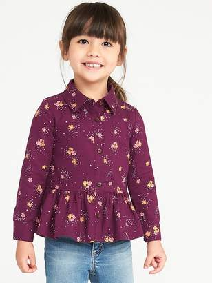 Old Navy Button-Front Peplum-Hem Top for Toddler Girls