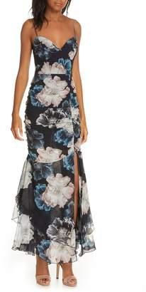 Nicholas Floral Ruched Silk Dress