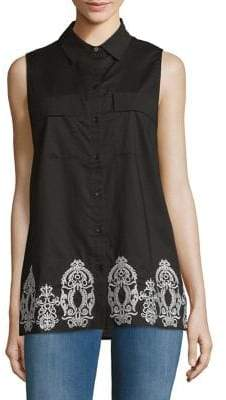Jones New York Sleeveless Cotton Embroidered Top