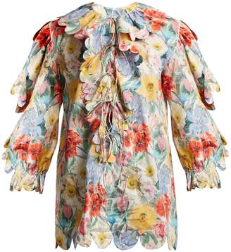 HORROR VACUI Floral-print scallop-edged cotton blouse