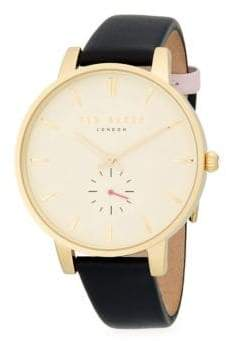 Ted Baker Stainless Steel Leather-Strap Watch