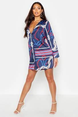 boohoo China Print Satin Collarless Blazer Dress