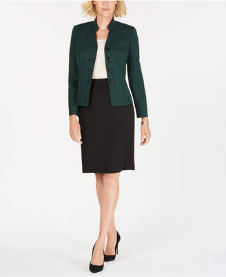 Le Suit Four-Button Tweed Skirt Suit