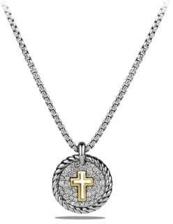 David Yurman Cable Collectibles Cross Charm Necklace with Diamonds and 18K Gold