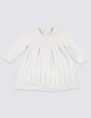 Marks and Spencer 2 Piece Pointelle Knit Dress with Tights