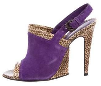 Bottega Veneta Snakeskin & Suede Slingback Sandals