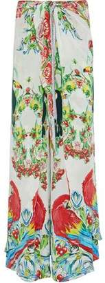 Camilla One Flew Over Embellished Printed Silk Crepe De Chine Wide-Leg Pants