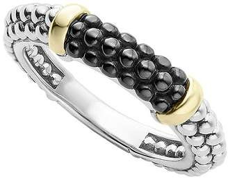 Lagos Black Caviar Ceramic 18K Gold and Sterling Silver 2 Station Stacking Ring