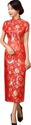Dragon Optical Shanghai Story Short Sleeve Qipao Chinese Dress Long Cheongsam L