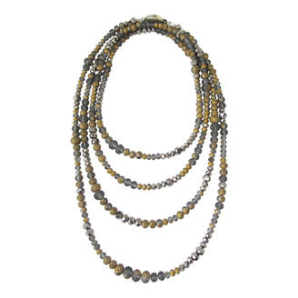 Dripping In Gems Gray & Gold Frosted Glass Rondelle Strand Necklace