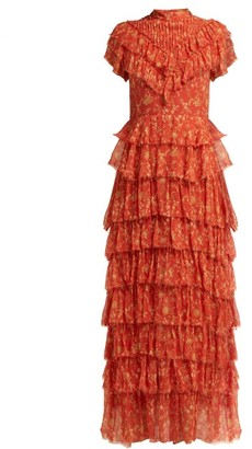 Sir - Posey Floral Print Crinkle Silk Midi Dress - Womens - Red