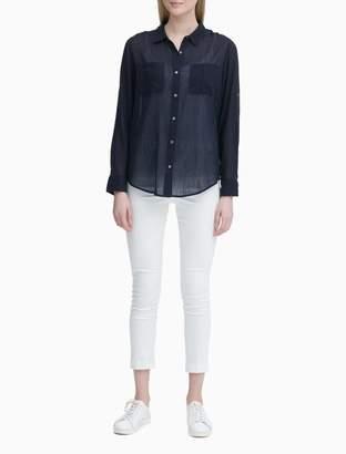 Calvin Klein Crinkle Roll-Sleeve Button-Down Blouse