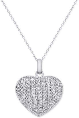 Townsend Victoria Diamond Pavé Heart Locket Pendant Necklace (2 ct. t.w.) in Sterling Silver